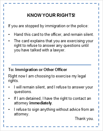 Know Your Rights Card